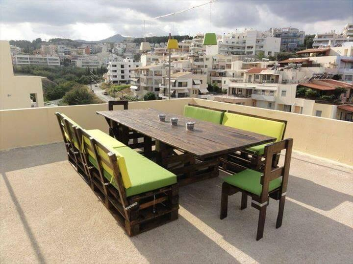 pallet patio dining furniture with 2 whole pallet sofas
