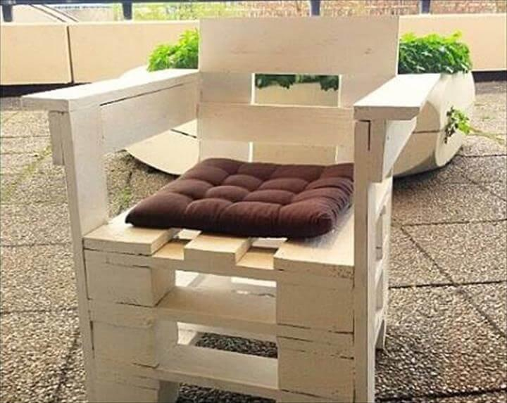 recycled pallet white chair