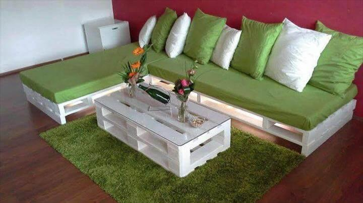 upcycled pallet white whole pallet sofa with green foam cushion