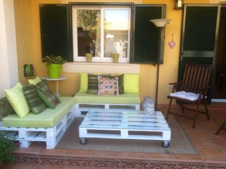 chic white pallet sofa with light green foam cushion