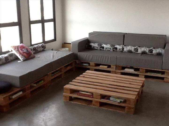 handcrafted pallet cushioned sofa