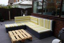 diy whole pallet L-sofa with cushion