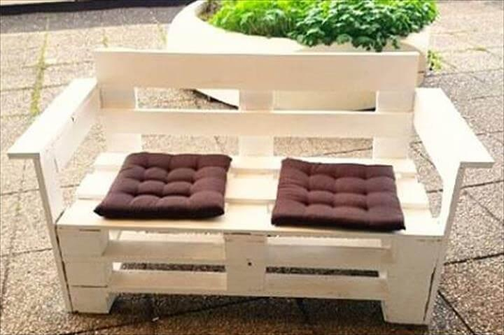 upcycled pallet white painted bench