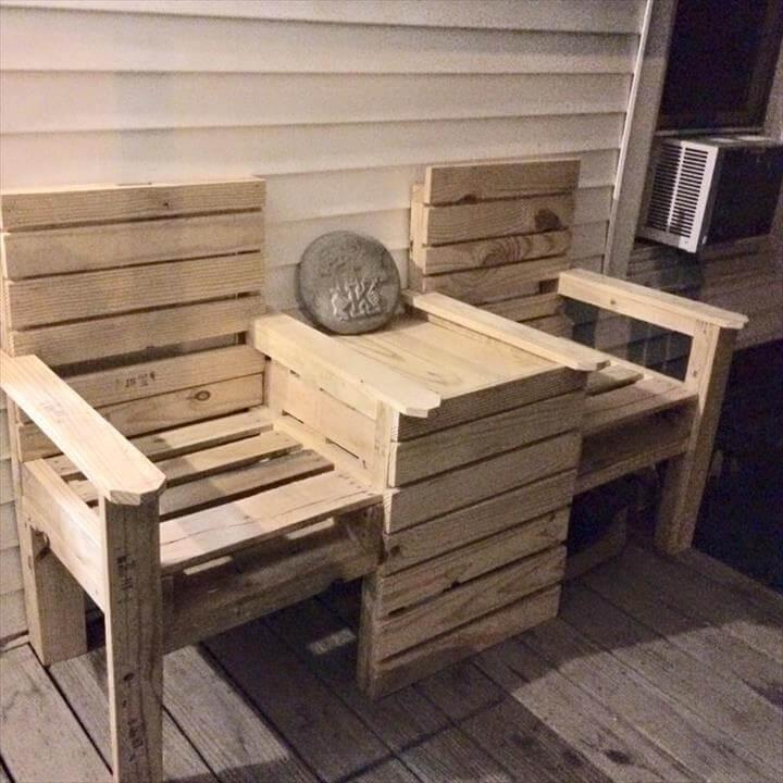 recycled pallet double chair patio desk