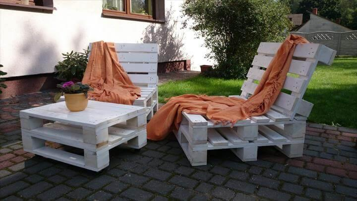 white painted whole pallet outdoor furniture