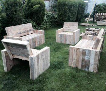 hand-built pallet patio chairs and benches