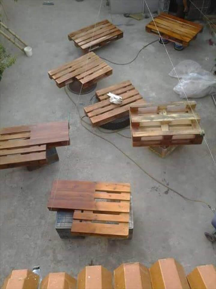 building the pieces out of pallet boards for bed installation