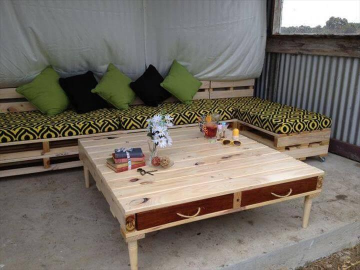 upcycled rustic stacked pallet sofa