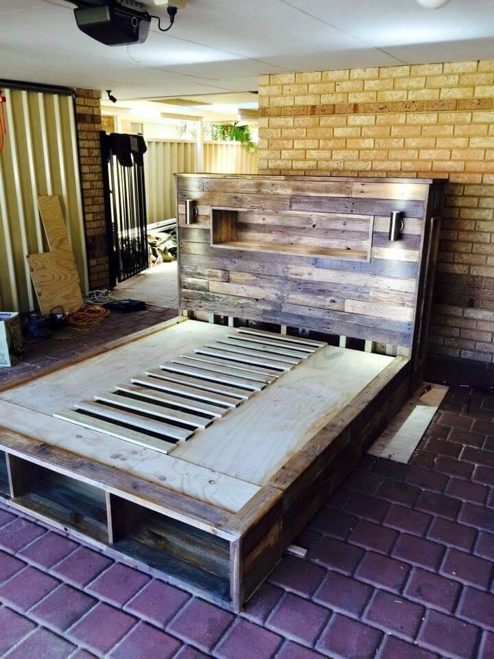 repurposed pallet platform bed