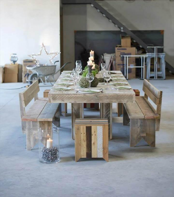 reclaimed pallet dining furniture set