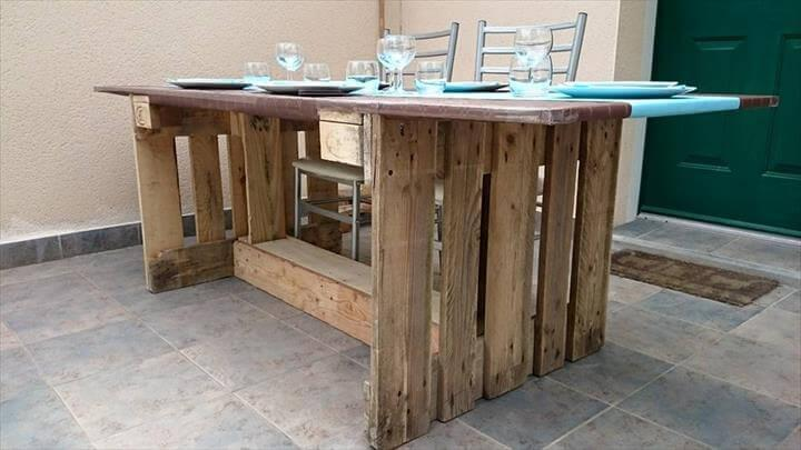 diy chic vintage pallet dining table with MDF plate top
