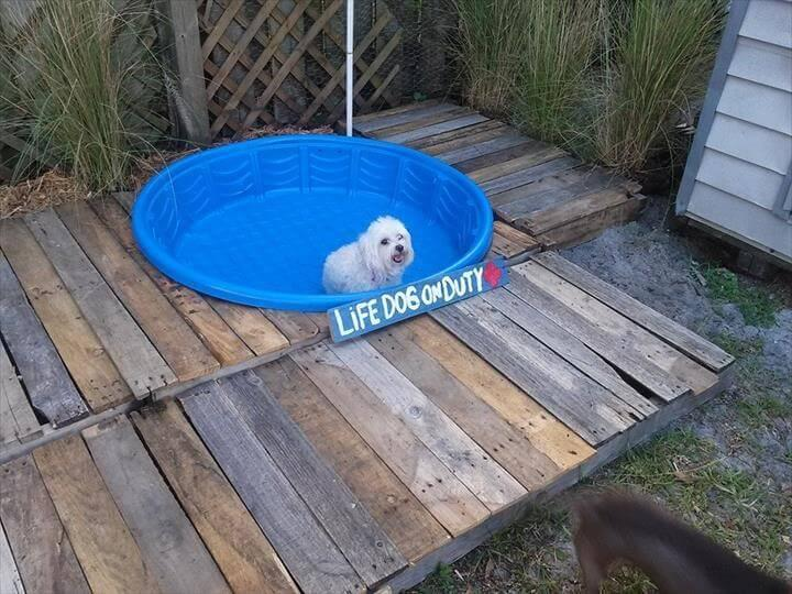 rustic pallet doggie pool with blue bathtub