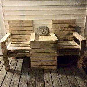 Wood Pallet Outdoor Bench – Double Chair!