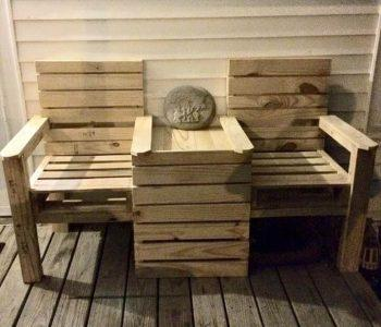 handmade wood pallet double chair bench