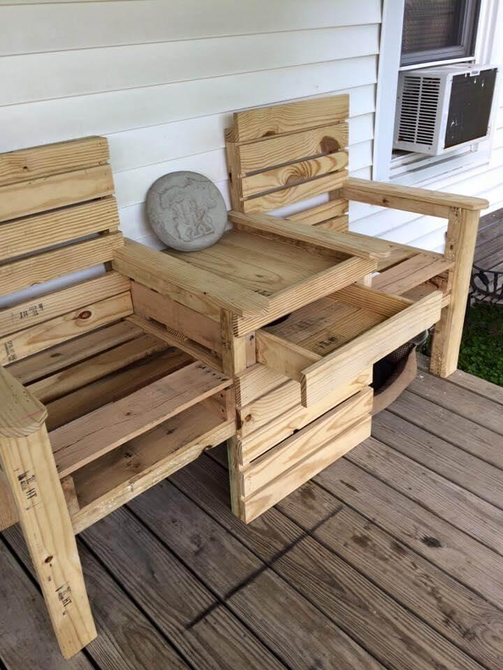 upcycled pallet double chair patio bench