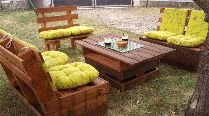 easy-to-build pallet garden sitting furniture