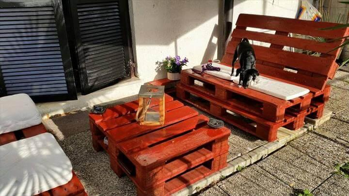 diy dark orange painted pallet patio furniture set