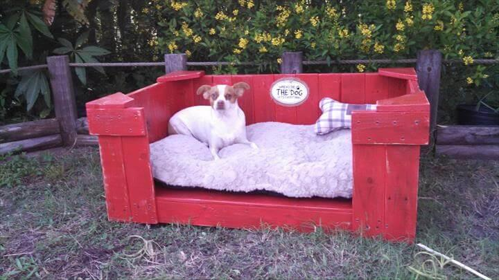 reclaimed pallet red painted dog bed