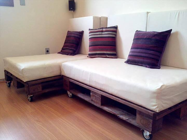 pallet rolling corner sofa with white cushion