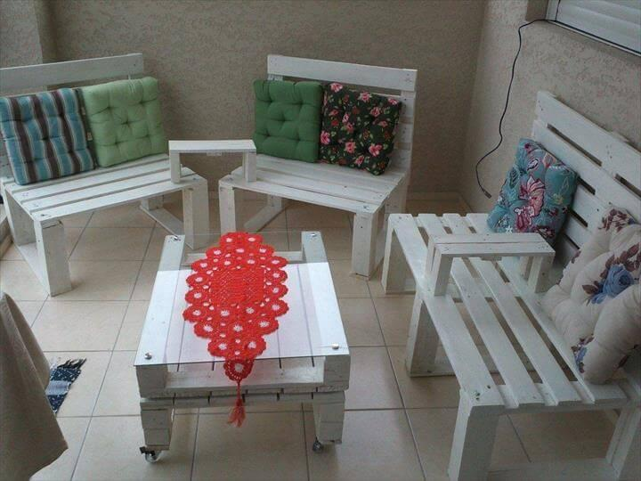 upcycled pallet rustic benches and sofas