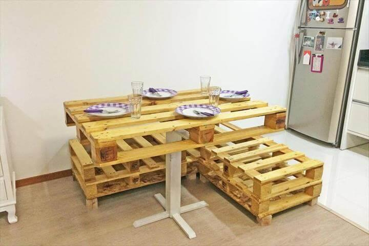 recycled pallet section sitting unit with pedestal pallet breakfast table