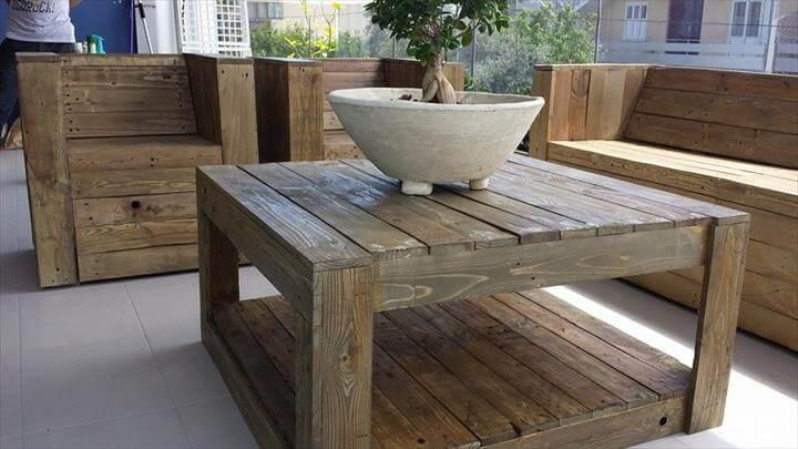 handmade pallet beefy terrace or balcony furniture set