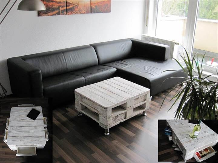 white painted vintage styled pallet coffee table