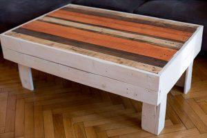 upcycled pallet distressed coffee table with colorful top