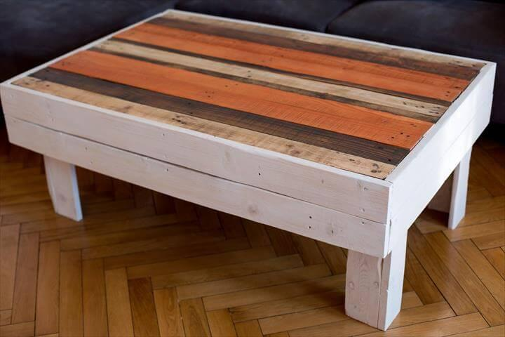 ... Upcycled Pallet Distressed Coffee Table With Colorful Top