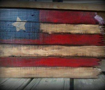 repurposed pallet wood flag art