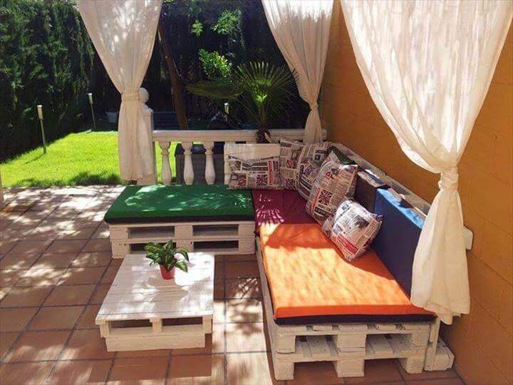 repurposed white painted pallet sofa