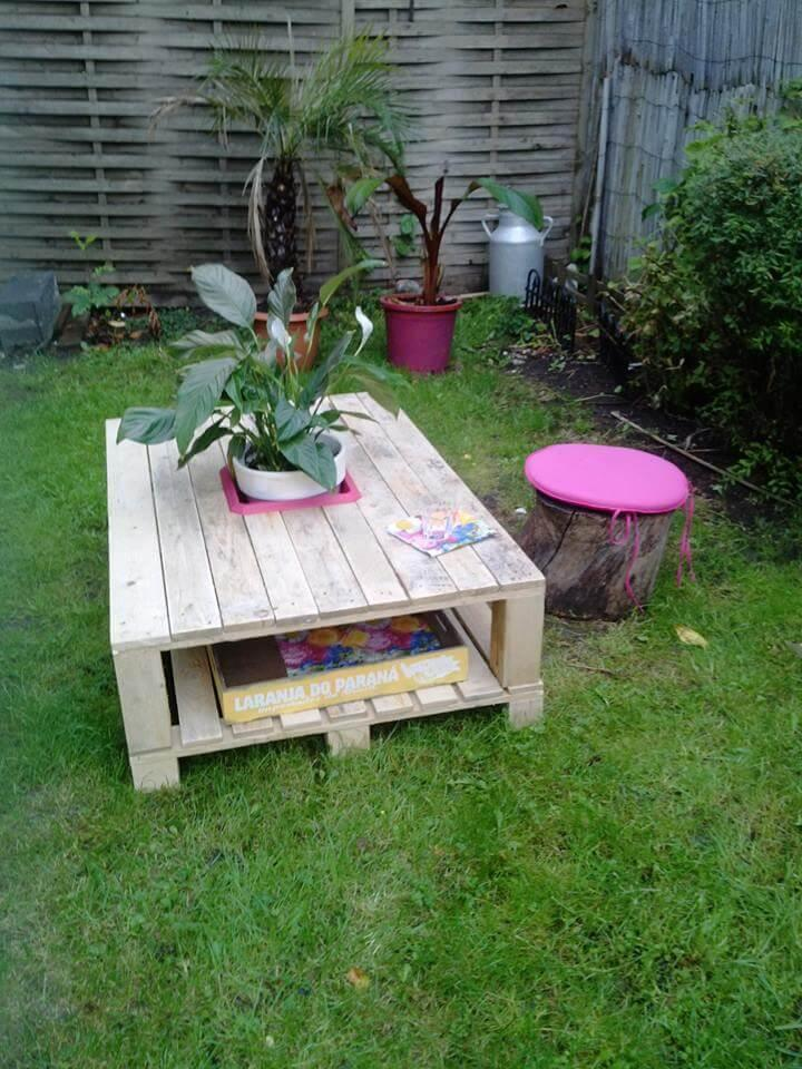 upcycled pallet coffee table with planter box inlay