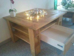 repurposed pallet stroge-friendly coffee table