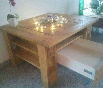 repurposed pallet stroge-friendly coffee table
