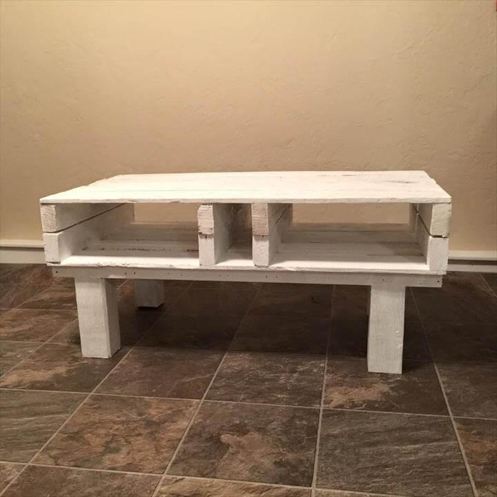 upcycled pallet coffee table with storage