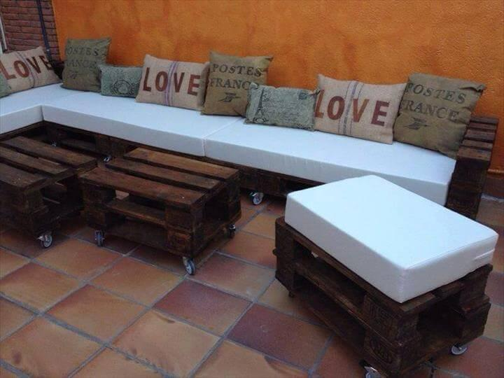 upcycled pallet x-long patio sofa with white foam cushion