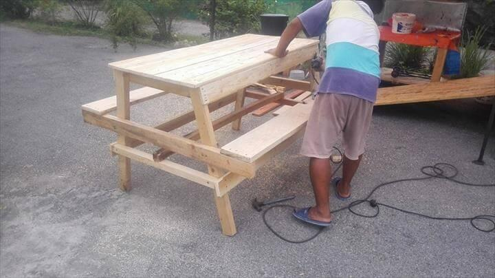 sanding of pallet picnic table