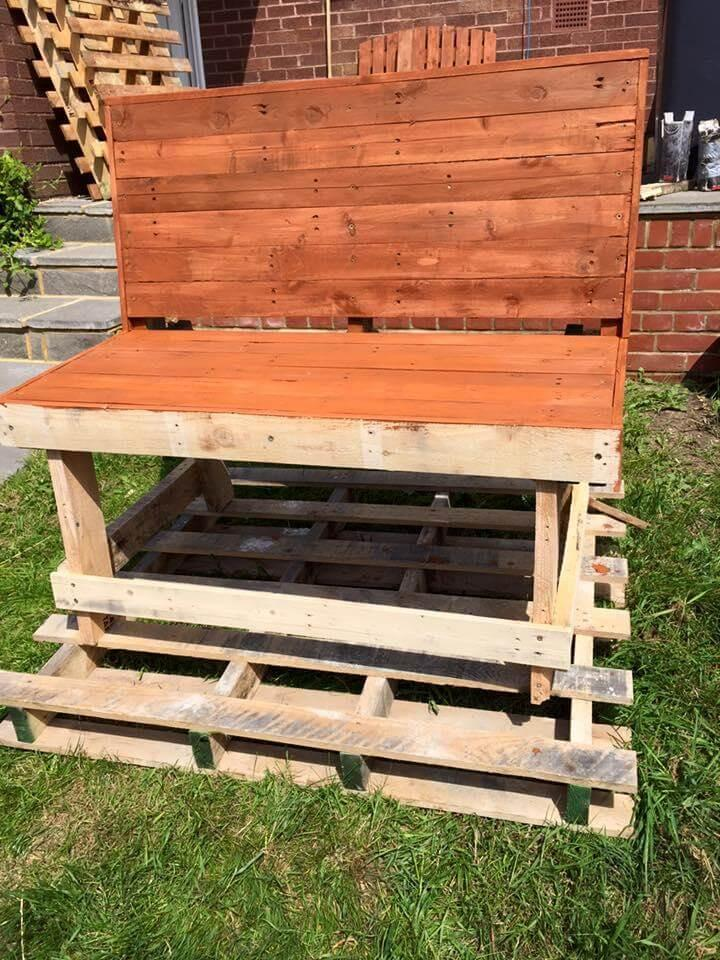handmade wood pallet stained bench