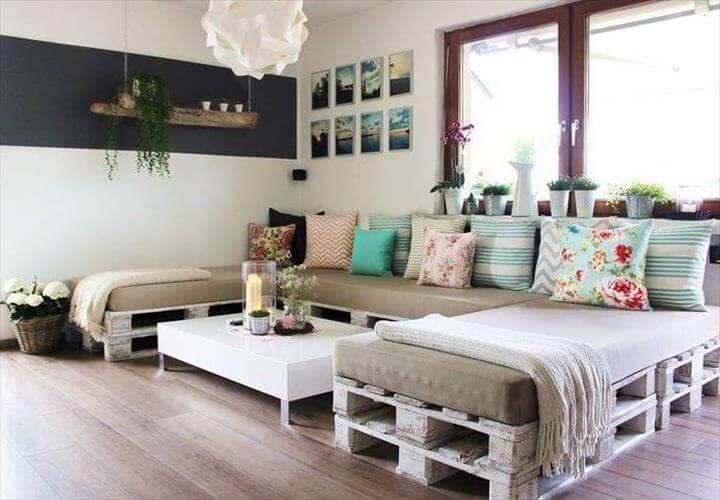 white painted whole pallet U-shape sofa