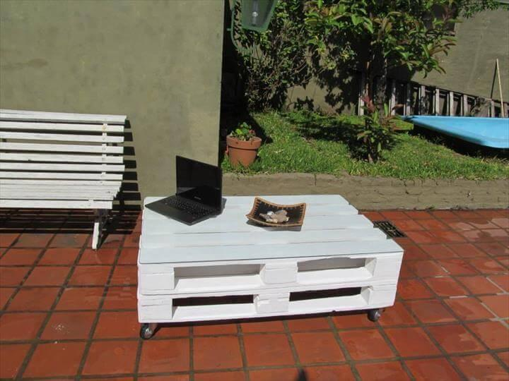 repurposed pallet white chic coffee table