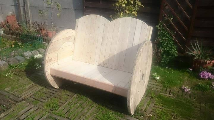 wooden pallet and cable spool garden bench