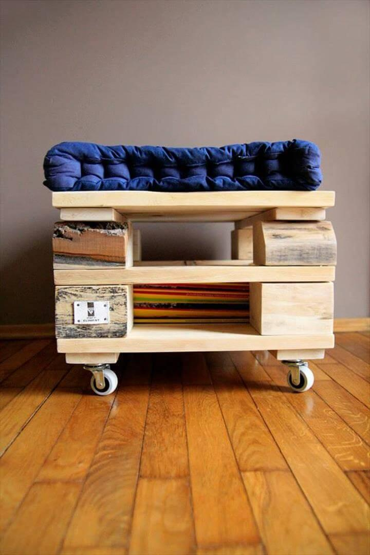 handcrafted pallet cushioned seat and ottoman