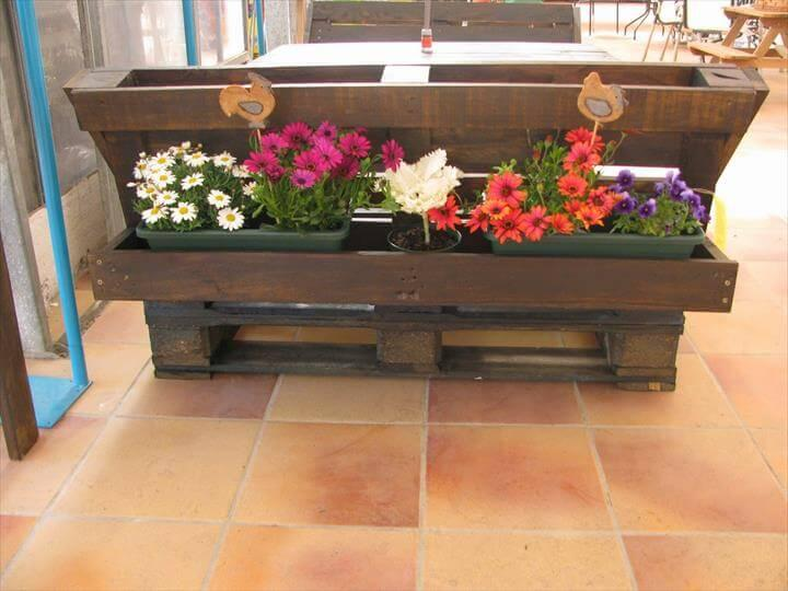 reclaimed pallet sofa with rear planter