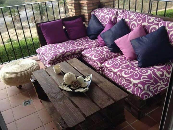 cushioned pallet porch sofa