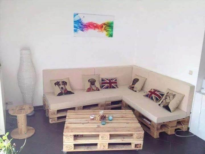 stacked Euro pallet sectional sofa