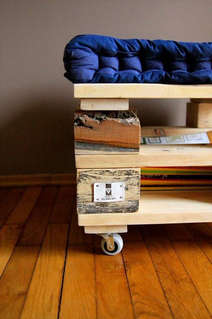 upcycled pallet ottoman with wheels
