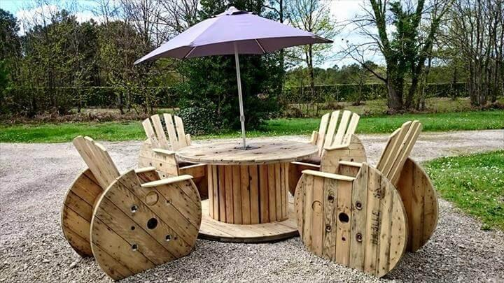 handmade wooden pallet and cable spool patio furniture