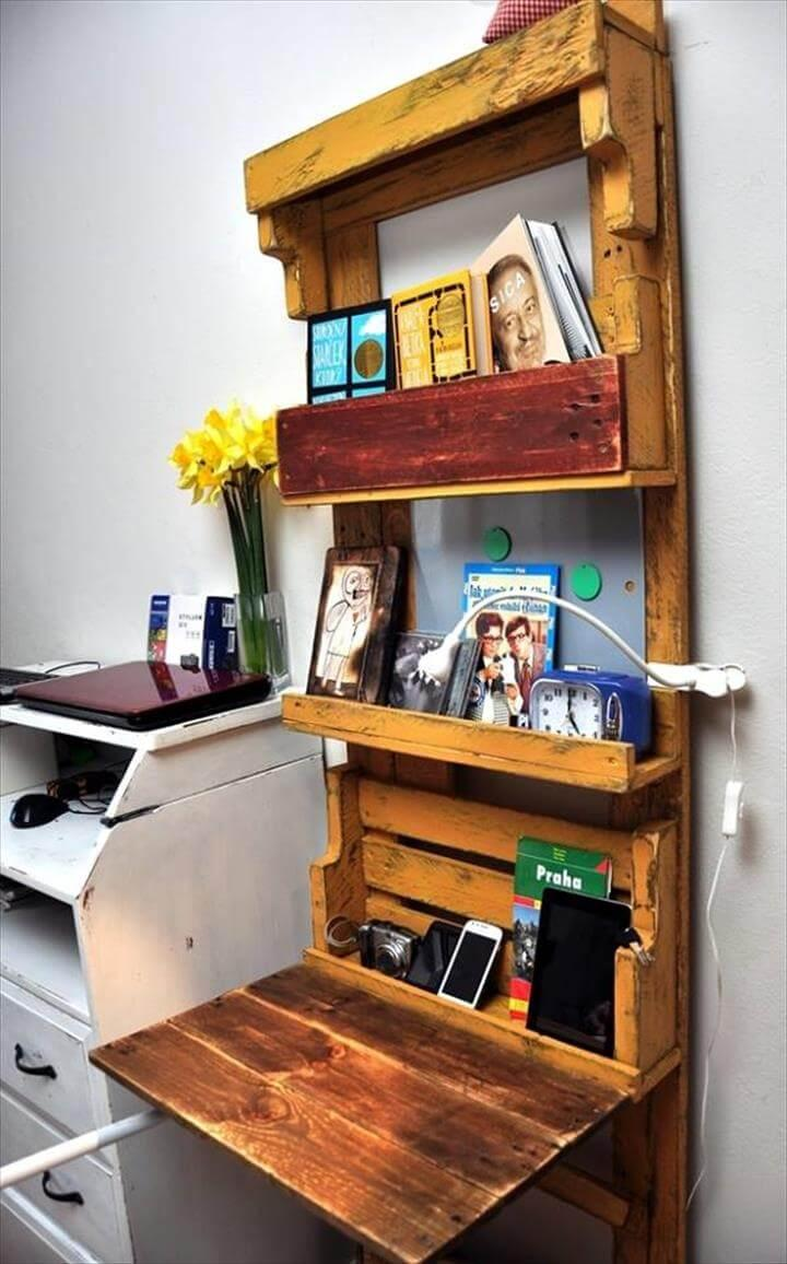 upcycled pallet folding out computer desk and office shelf