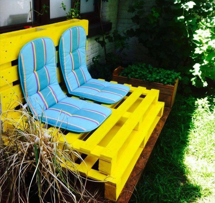 yellow painted pallet 2 seater