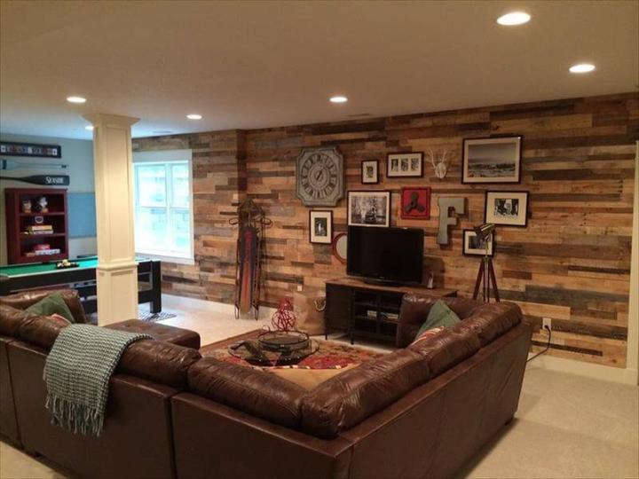 recycled pallet interior living room wall remodeling